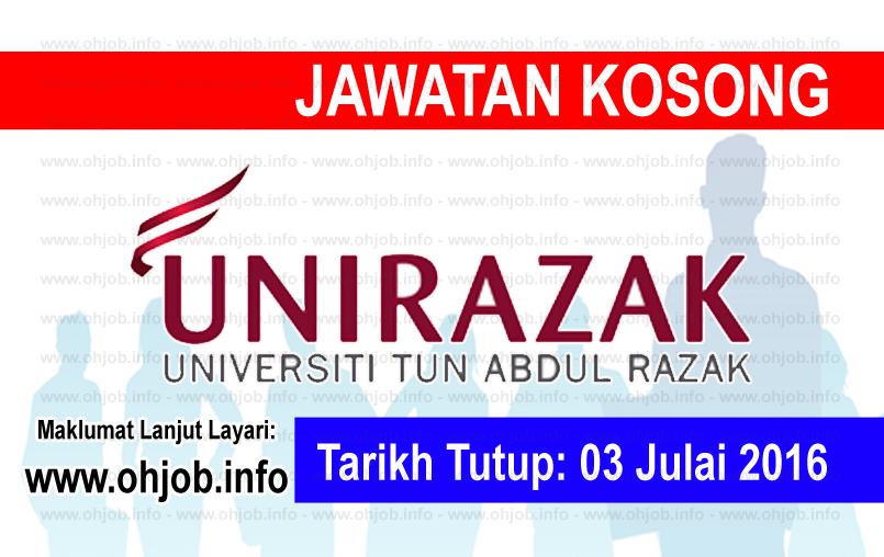 Jawatan Kerja Kosong Universiti Tun Abdul Razak (UNIRAZAK) logo www.ohjob.info julai 2016