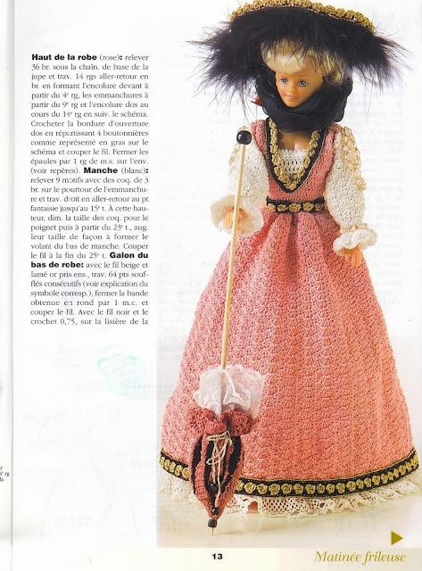 Vestido de Crochê Para Barbie Com Gráfico Mousseline - revista 1000 Mailles Robes de Poupées 3