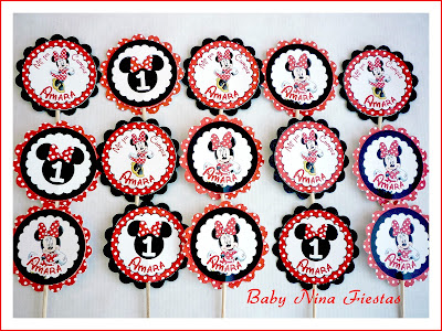 toppers cupcakes minnie mouse roja
