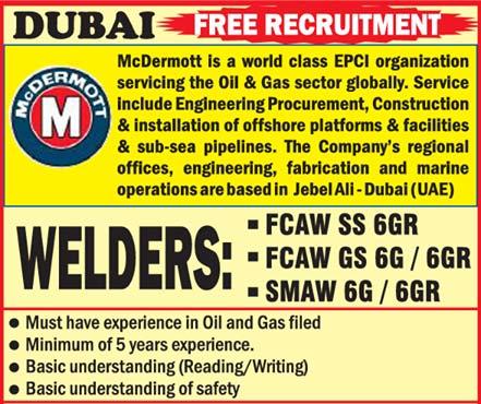 McDermott Dubai Jobs   Welders + Airless Spray Painter   Subash