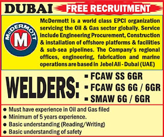 McDermott Dubai Jobs | Welders Subash Vijay Associates