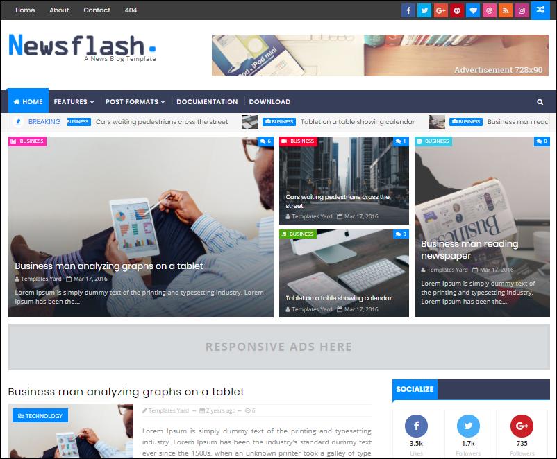 Newsflash Free Blogger Template Download Templatestore