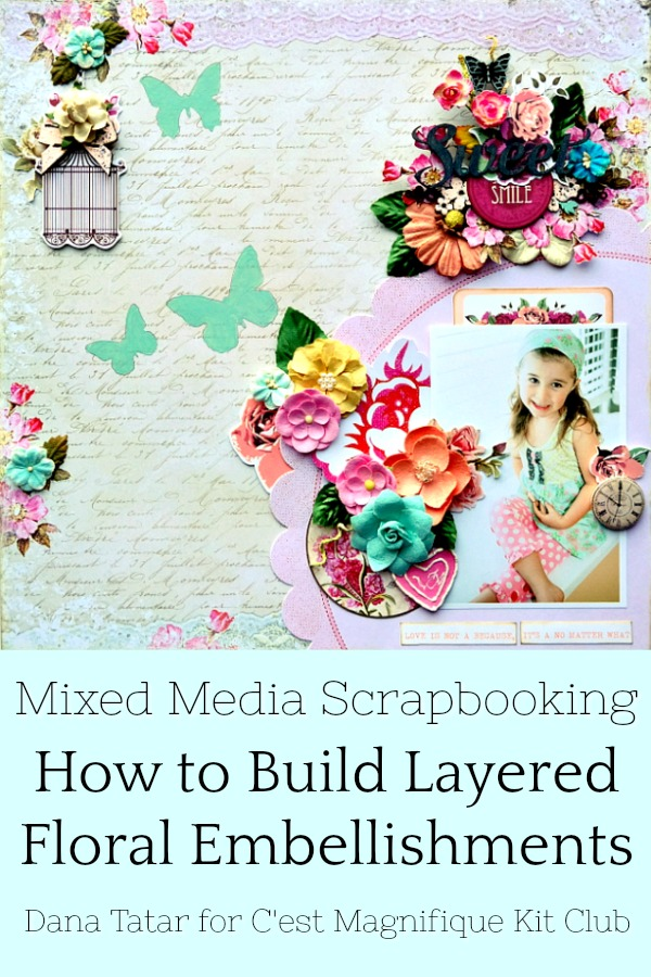 How to Build Layered Floral Embellishments with Chipboard Die-Cuts and Flowers