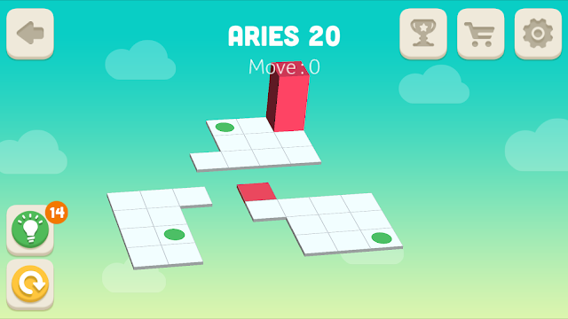 Bloxorz Aries Level 20 step by step 3 stars Walkthrough, Cheats, Solution for android, iphone, ipad and ipod