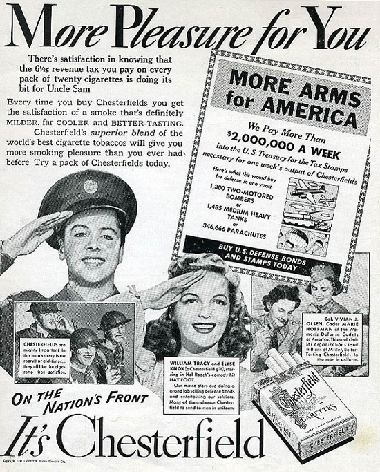 Chesterfield advertising 1942