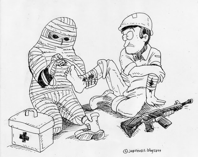 egypt cartoon, medic in combat