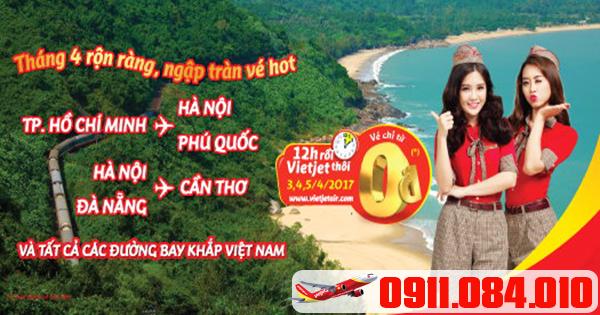 bán 1 triệu vé 0 đồng trong tháng 4 của Vietjet Air