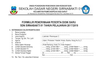 Contoh Formulir Penerimaan Siswa Baru Tahun Ajar 2017/2018 Format Word