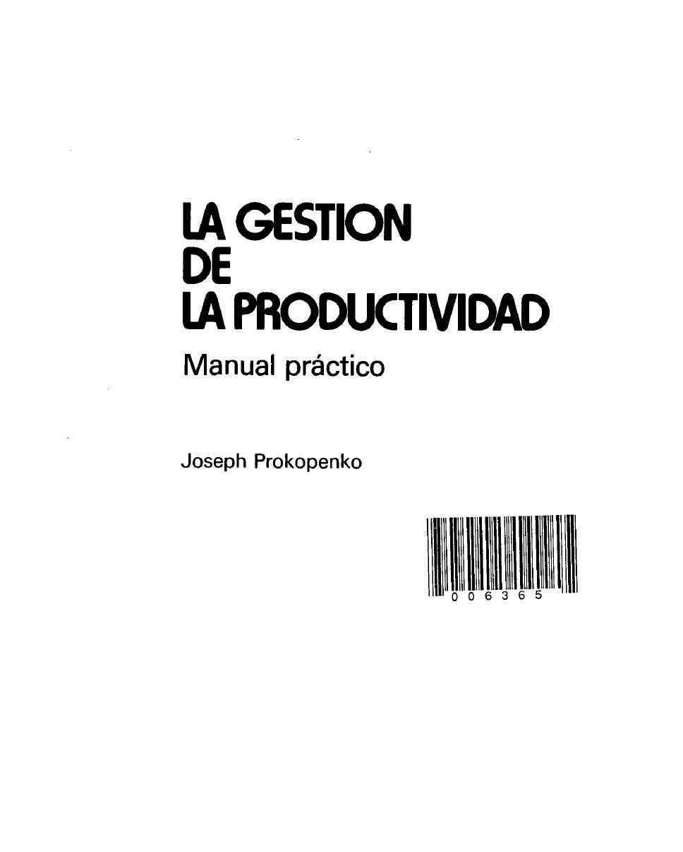 Gestión de la Productividad ~ Free Libros Perú