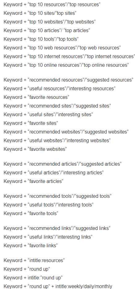 Search strings for Resource Page Link Building