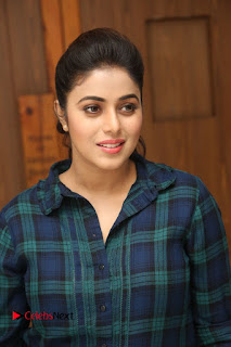 Actress Poorna Stills in Denim Jeans at Jayammu Nischayammu Raa Movie Interview 0018