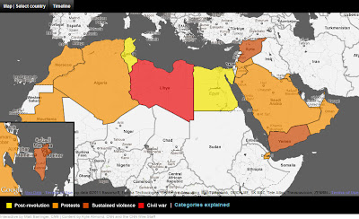 Cnns map of unrest in the arab world outside the neatline homepage has prominently displayed an interactive map of information regarding political instability in the arab world the map has countries symbolized gumiabroncs Images