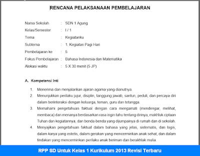 RPP SD Untuk Kelas 1 Kurikulum 2013 Revisi Terbaru