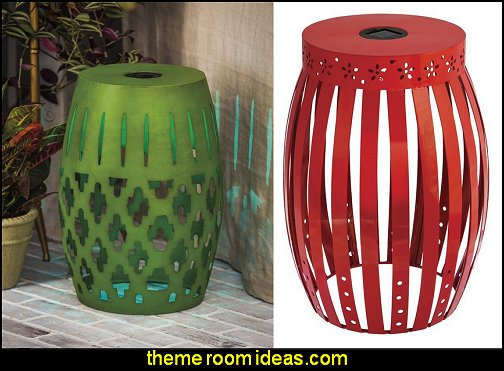 LED Red Metal Outdoor Table Stool