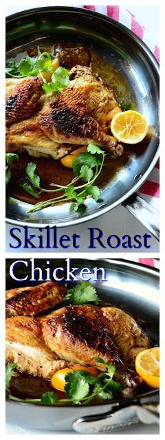 Skillet Roast chicken from the Publican, can be made on the grill or in the oven. Juicy and lemony and full of garlic, oregano and smoked paprika, this chicken is succulent and ready to eat in about thirty minutes. (Not including time to marinate.) www.thisishowicook.com #roastchicken #chickenrecipes