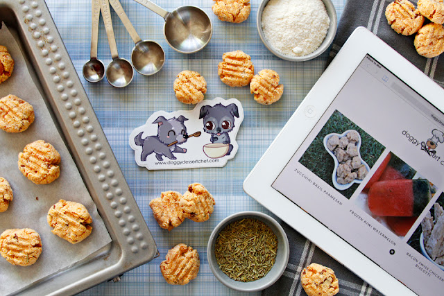 Homemade dog treats with baking supplies
