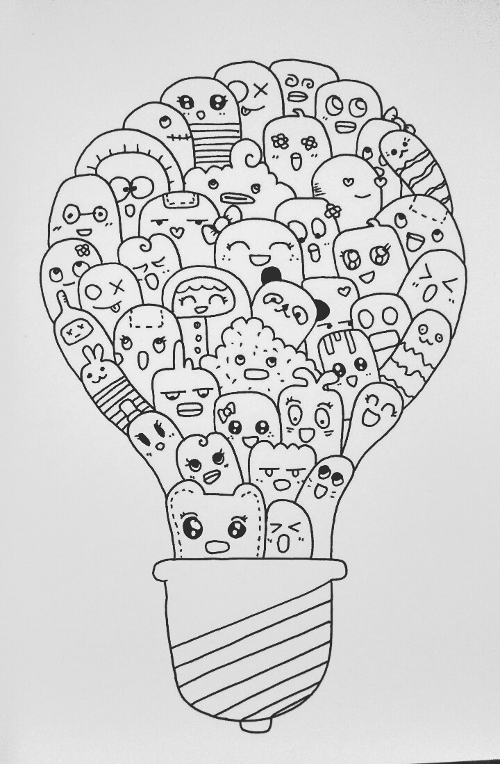 Mewarnai Gambar Doodle dengan Contouring - Goresan Absurd
