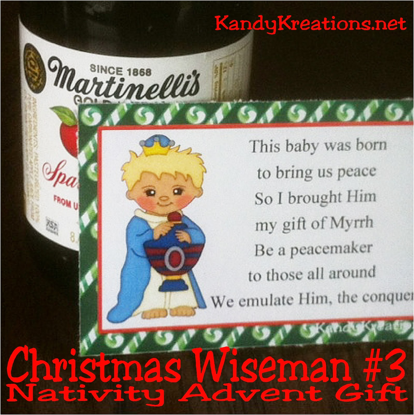 This Nativity Advent Calendar is a wonderful neighbor gift idea this Christmas.  Each day, wrap up the candy, add the poem and tag free printable, and give a gift that will bring Christ back into Christmas. Day 7 is the third wise man bringing his gift of Myrrh to the peacemaker and conquerer, Jesus Christ. #advent #christmas #wisemen #bagtopper #countdown #nativity #diypartymomblog