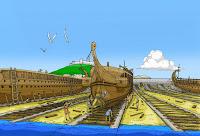 Ilustración que muestra los trirremes resguardados en el puerto.
