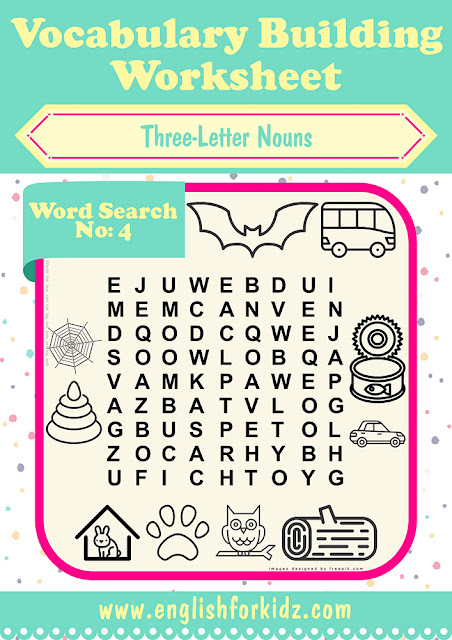 Printaple word searches for kids to build English vocabulary