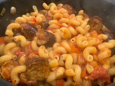 close up of Spicy Sausage Pasta in a saucepan