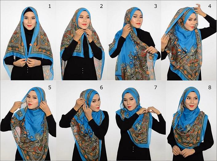 Tutorial Hijab Segi Empat Syari Untuk Lebaran
