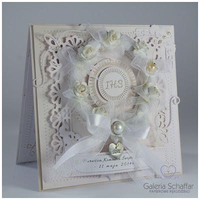ozdobna kartka na komunie na bogato bardzo strojna ozdobna z perłą schaffar