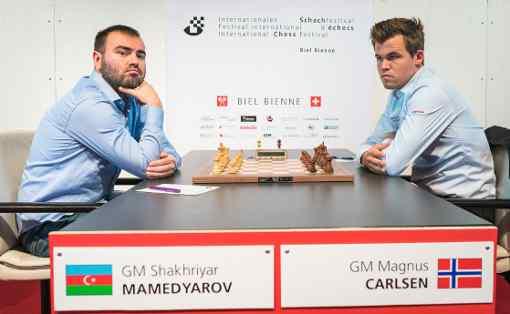 Ronde 9 : Shakhriyar Mamedyarov s'impose face au Norvégien Magnus Carlsen - Photo © Lennart Ootes
