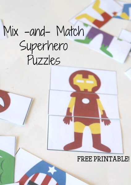 matching superheroes printable activity