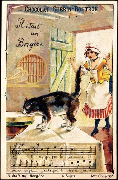 Trade card advertising chocolate c.1900s. French Verse featuring cat and milkmaid. Jingles and other stories of The American Dream. marchmaton.com