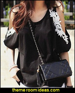 Patchwork Off Shoulder Bat Sleeve Women's Blouse