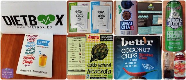 Productos Dietbox Coconut Chips Caldo de Alcachofa Ecológica Aneto ThermoLean Brownie Funcional Alasature Houji Cha Té Verde Tostado Moose Juice Extreme Energy Green Apple Tortitos con sabor a Bacon Suicolife Duo-Dosis Detox Mix y Antiox Mix
