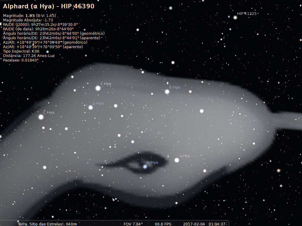 o céu a longa e sinuosa constelação hydra a hidra fêmea