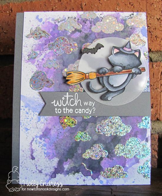 Newton's Nook Designs & Therm O Web Inspiration Week | Halloween Cat Card by Holly Endress | Newton's Boo-tiful Night Stamp Set  and Cloudy Sky Stencil by Newton's Nook Designs #newtonsnook #thermoweb