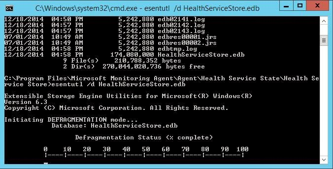 Running esentutl /d HealthServiceStore.edb in order to compact and defragment the health service database after log spewing occurred from loading the Active Directory management packs