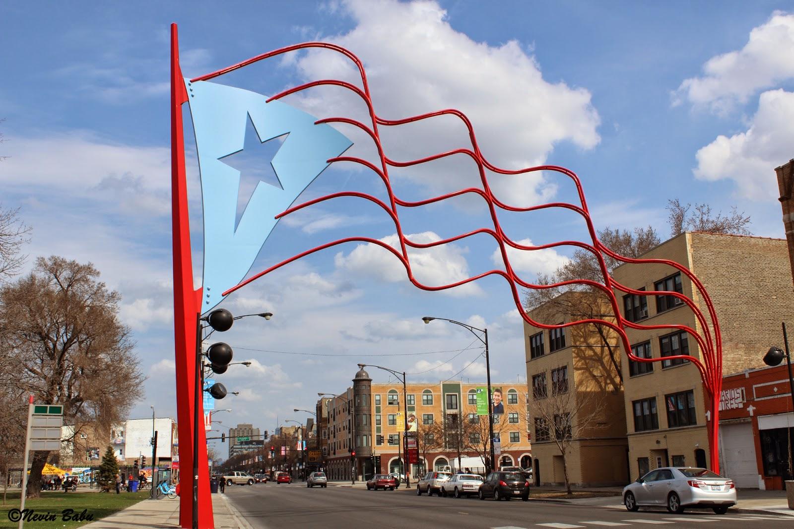 Puerto Rican flag Sculpture at Paseo Boricua
