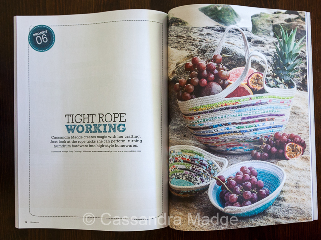 Double page spread of Cassandra Madge Rowl Baskets in Homespun