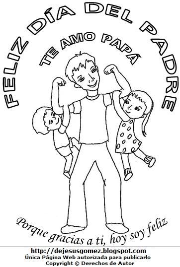 Ilustración del Día del Padre sin color para niños para colorear. Dibujo al Día del Padre de Jesus Gómez