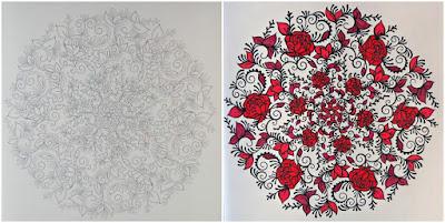 Roses mandala from Enchanted Dreams adult coloring book