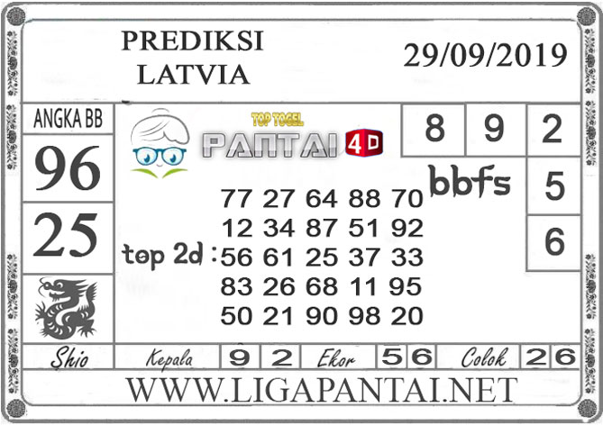 "PREDIKSI TOGEL ""LATVIA"" PANTAI4D 29 SEPTEMBER 2019"
