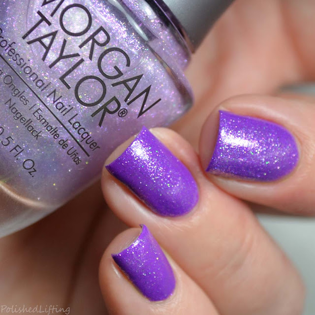 shimmer top coat over neon purple nail polish