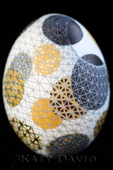 """Caught"" ©Katy David 2016 Goose egg, aniline dye, varnish"
