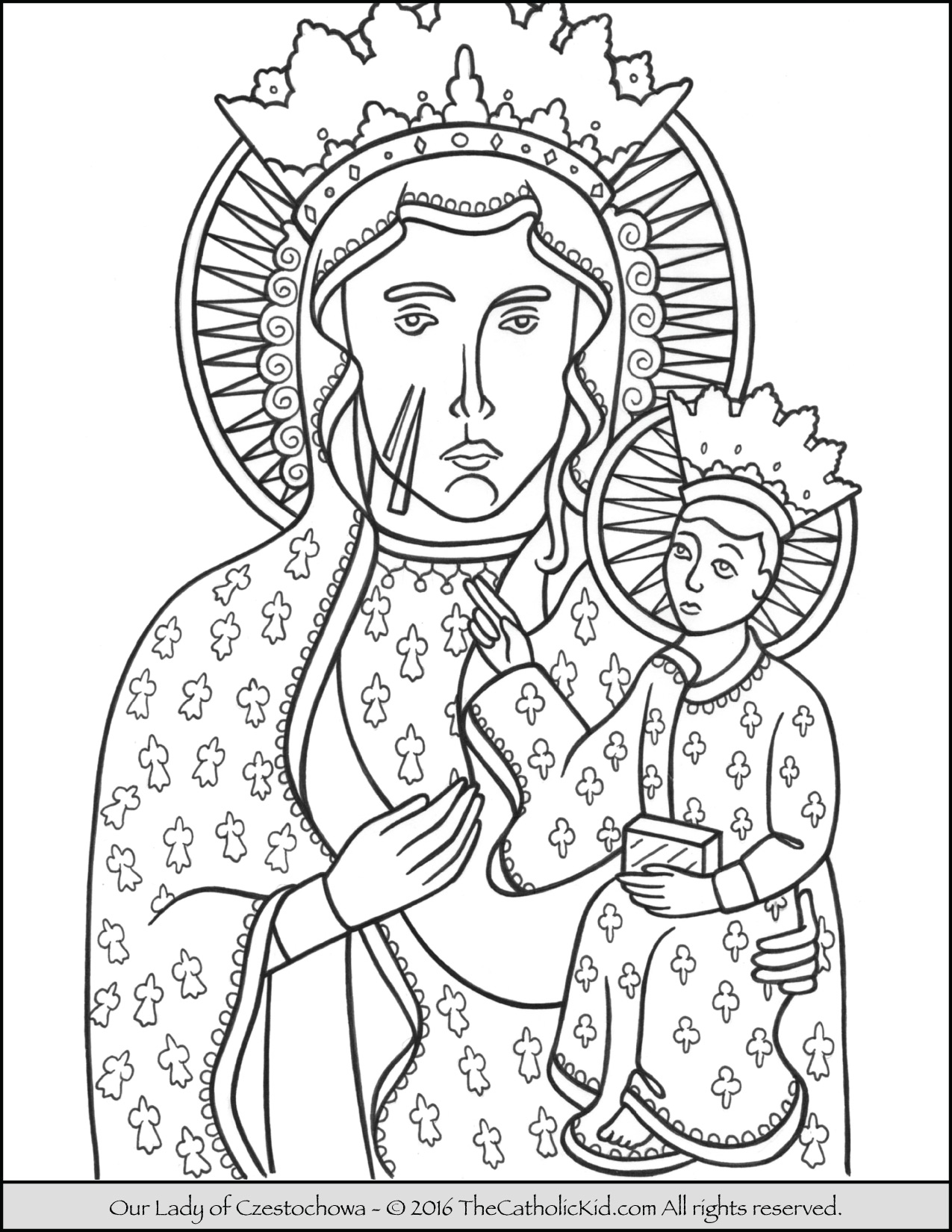 Best hd our lady of guadalupe coloring page heart with for Lady coloring pages