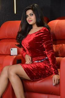 Alekhya Kondapalli Photos in Red Dress