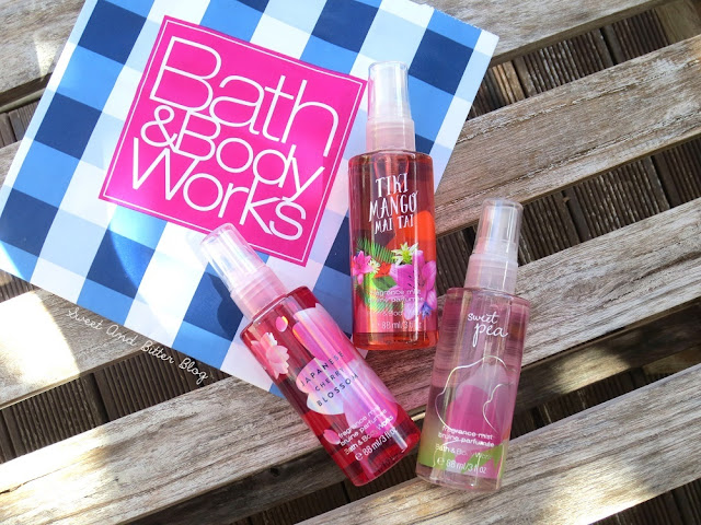 Bath & Body Works Tiki Mango Mai Tai, Japanese Cherry Blossom, and Sweet Pea Travel Size Fragrance Mist