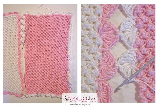 Sferruzz co baby blanket bianca e rosa ferri e uncinetto for Come costruire un aggiunta coperta