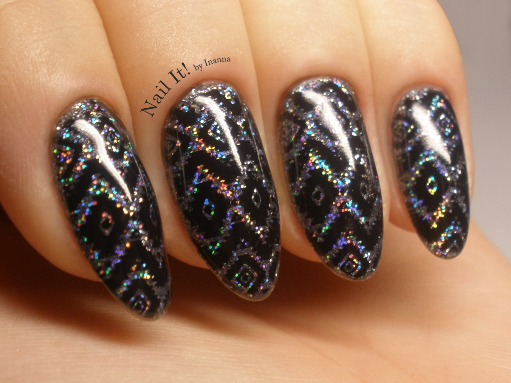 "Holo Aztek Nail Art (with B. Loves Plates ""B.01 Geometry ..."