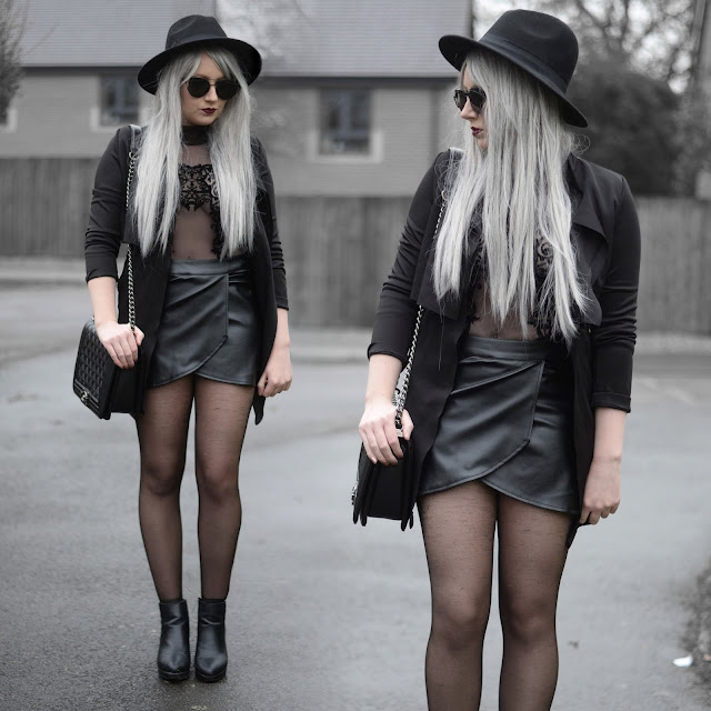 Sammi Jackson - Primark Fedora / Wholesale 7 Coat / Choies Asymmetric Faux Leather Skirt / Mesh Bodysuit / OASAP Quilted Bag / Topshop Alexy Boots
