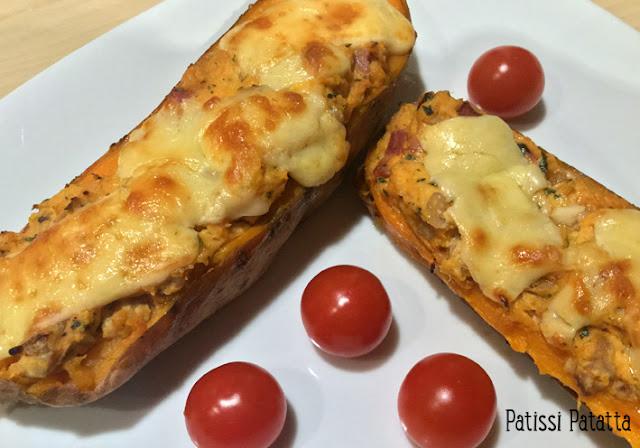recette de patates douces farcies, patates douces farcies au fromage, noix et lardons, cuisiner des patates douces, un plat complet avec des patates douces, comment préparer des patates douces,