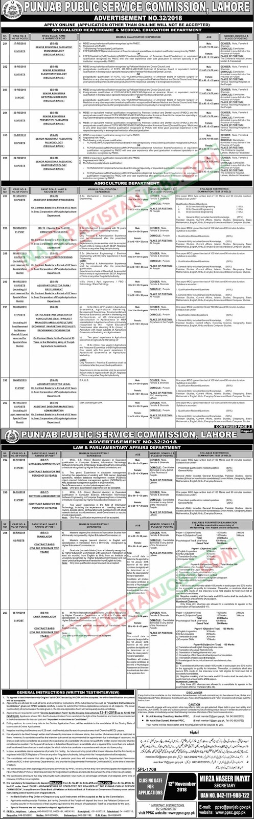 Latest Vacancies Announced in PPSC.GOP.PK Punjab Public Service Commission PPSC 28 October 2018 - Naya Pakistan